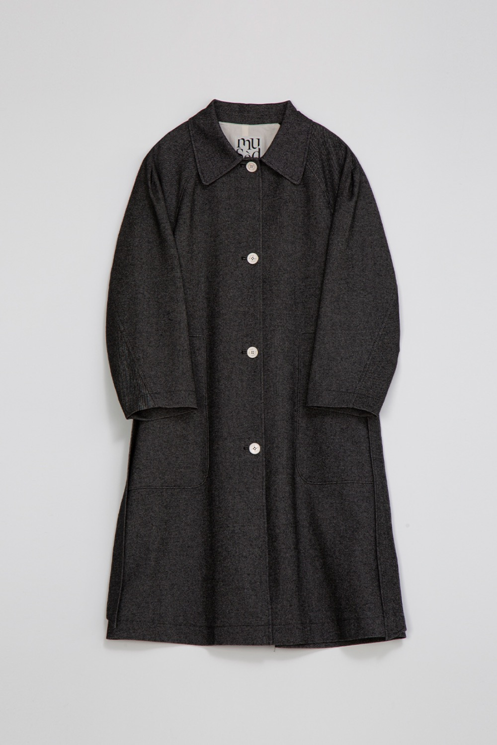 BON TRENCH COAT - BLACK TWILL WOOL-COTTON BLENDED ITALIAN FABRIC