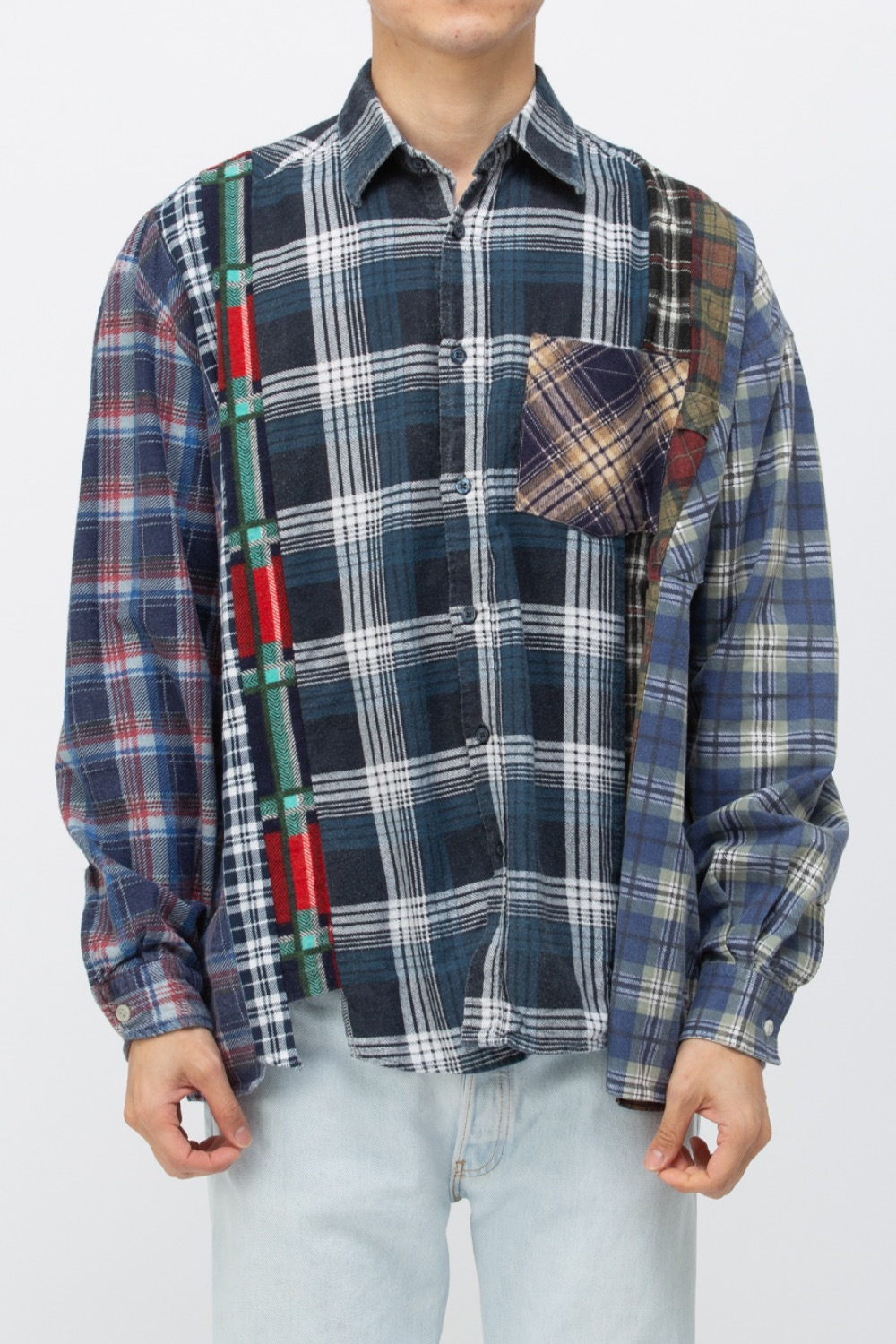 (WIDE-5)REBUILD BY NEEDLES FLANNEL SHIRT - 7CUTS WIDE SHIRT