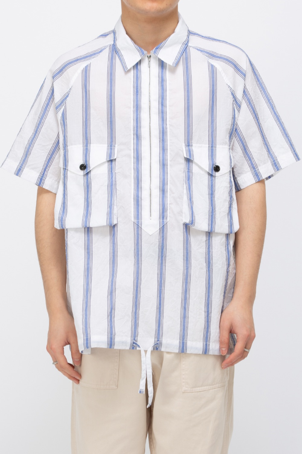 SCOUT PULLOVER HALF SHIRT CRINKLE BLUE STRIPE