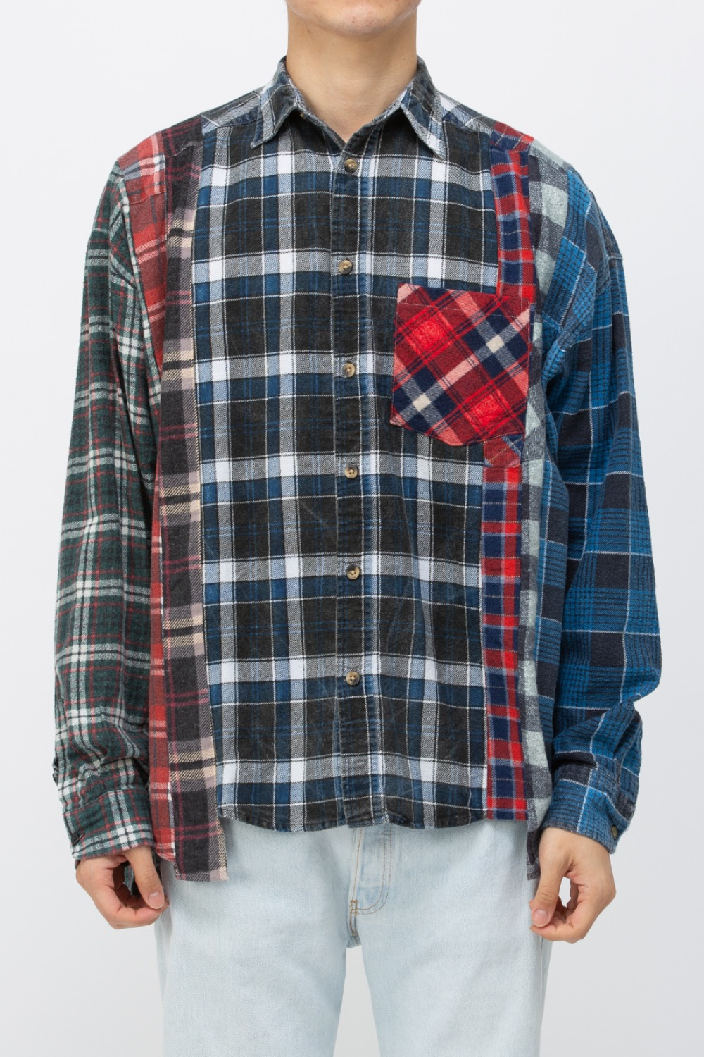(WIDE-8)REBUILD BY NEEDLES FLANNEL SHIRT - 7CUTS WIDE SHIRT