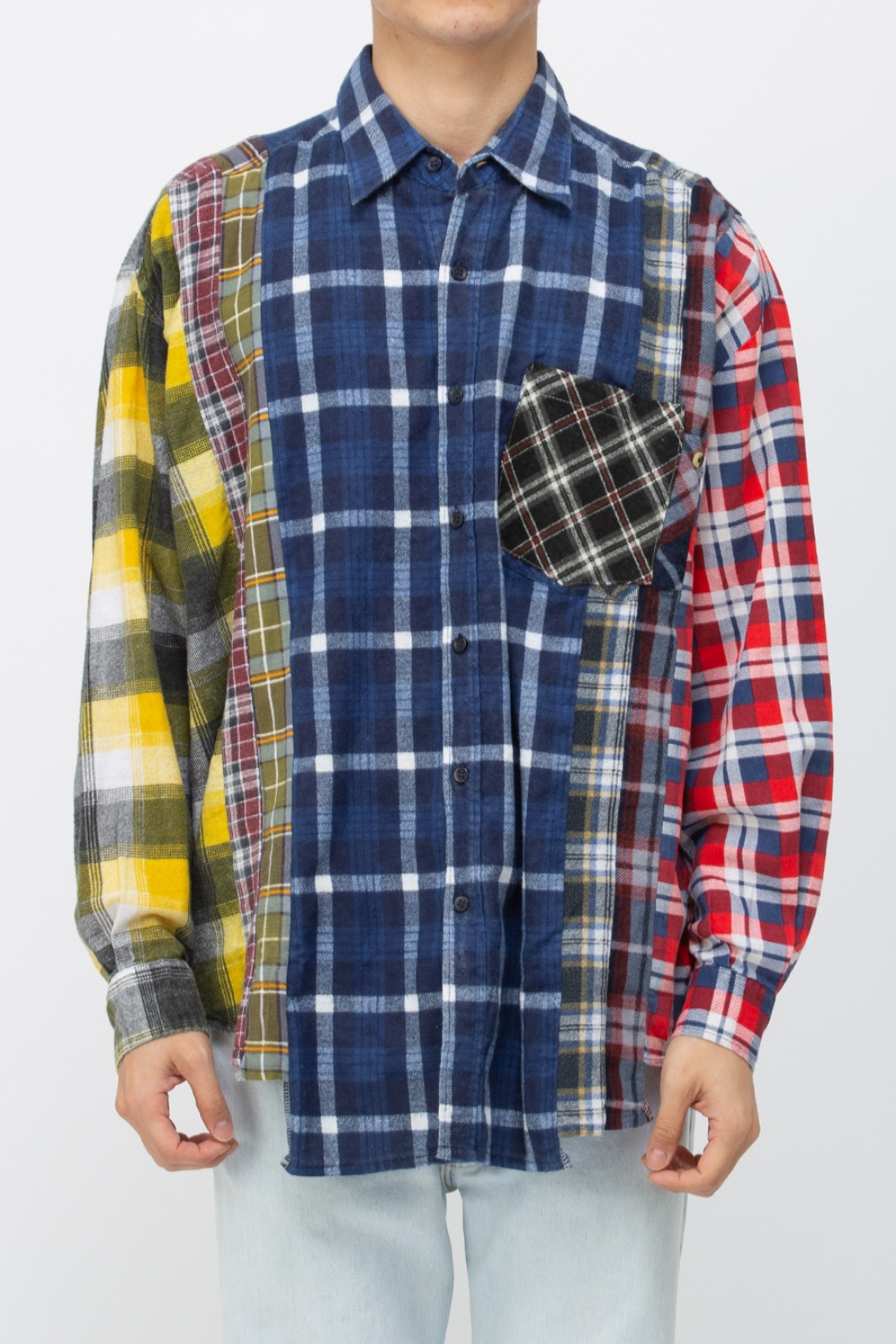 (WIDE-7)REBUILD BY NEEDLES FLANNEL SHIRT - 7CUTS WIDE SHIRT