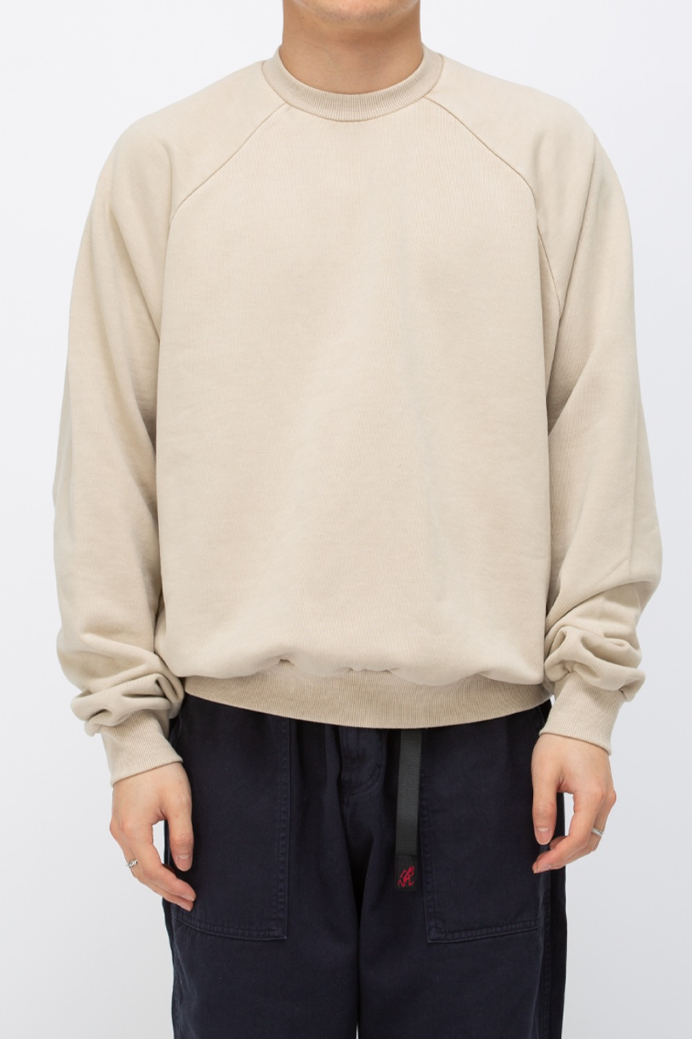 HEAVY WEIGHT OVERSIZE SWEATSHIRT WASHED(PREMIUM BASIC) BEIGE