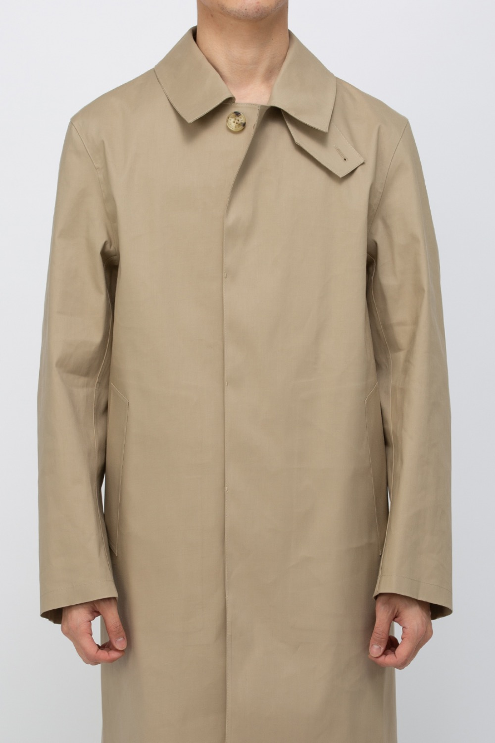 (RO5682)OXFORD BONDED COTTON 3/4 COAT FAWN